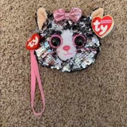 Ty Fashion (Malaysia Official)  Sequins Wristlet  Kiki the Grey Cat