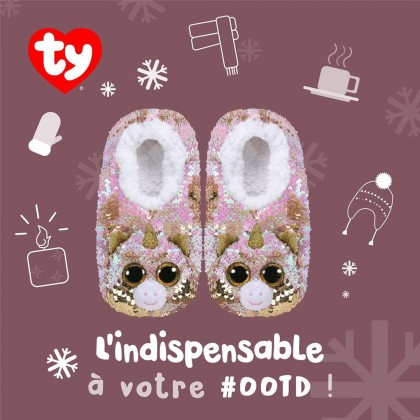 Ty Footwear (Malaysia Official) | Sequins Slipper Socks (Small, Medium & Large) | Fantasia the Pink Unicorn