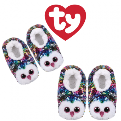Ty Footwear (Malaysia Official)   Sequin Slipper Socks (Small, Medium & Large)   Owen the Multicolor Owl