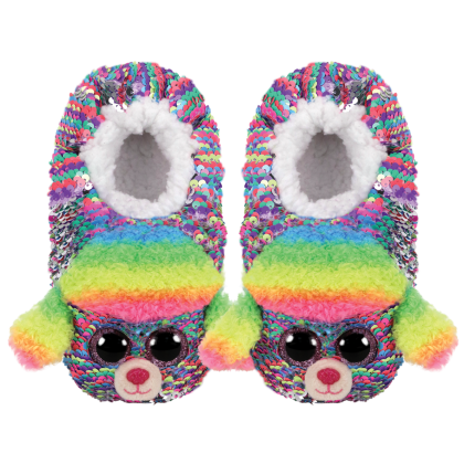 Ty Footwear (Malaysia Official)   Sequin Slipper Socks (Small, Medium & Large)   Rainbow the Multicolor Poodle