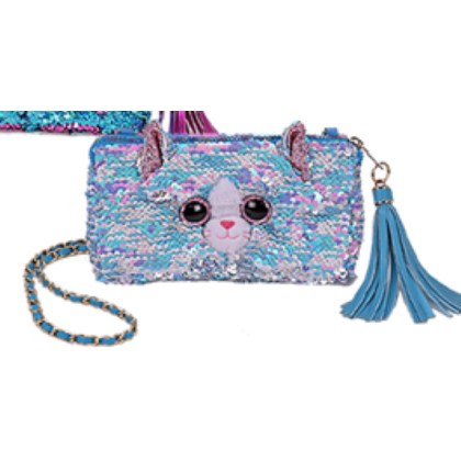 Ty Fashion (Malaysia Official)  Sequins Square Purse  Whimsy the Iridescent Cat