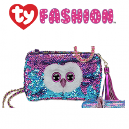 Ty Fashion (Malaysia Official)  Sequins Square Purse  Moonlight the Purple Owl
