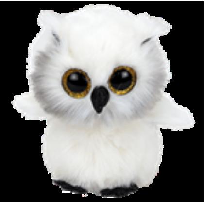 Ty Plush Toys (Malaysia Official)  Beanie Boos Medium  AUSTIN the White Owl