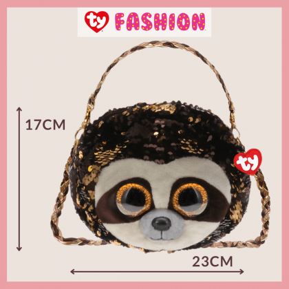 (100% Original) Ty Fashion | Sequins 3-Braided Sling Purse | Dangler The Sloth | Accessories Bags Gift Idea for Girls Kids