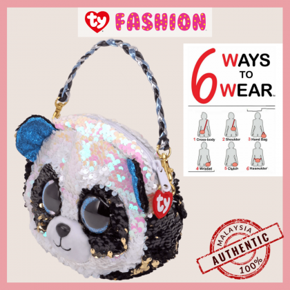 (100% Original) Ty Fashion   Sequins 3-Braided Sling Purse   Bamboo The Panda   Accessories Bags Gift Idea for Girls Kids
