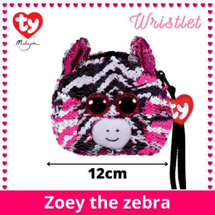 (100% Original) Ty Fashion | Sequins Wristlet | Zoey The Pink Zebra | Accessories Bags Gift Idea for Girls Kids
