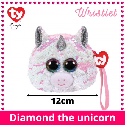 (100% Original) Ty Fashion | Sequins Wristlet | Diamond The Unicorn | Accessories Bags Gift Idea for Girls Kids